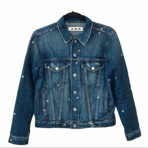 AMO Pop Floral Embroidered Denim Jacket
